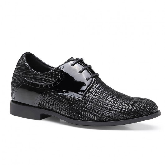 Chamaripa elevator dress shoes hidden heel shoes black tall men shoes 7 CM / 2.76 inches