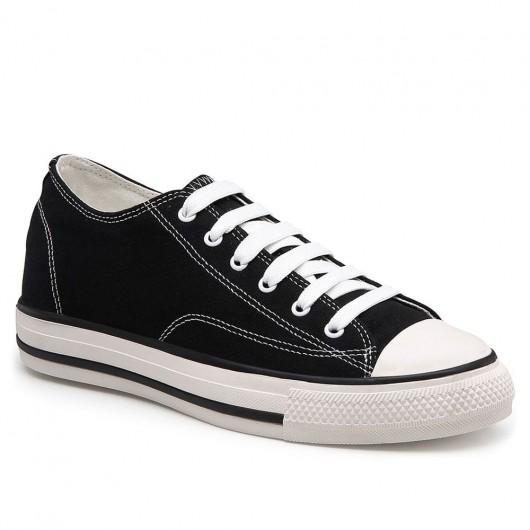 CHAMARIPA women wedge sneakers canvas hidden wedge sneakers in black 5 CM / 1.95 Inches taller