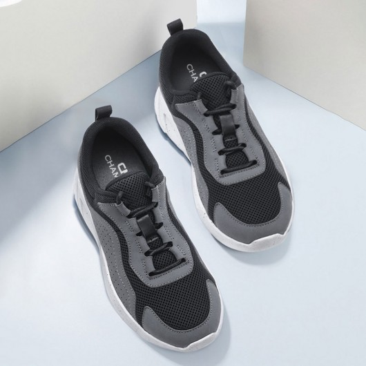 CHAMARIPA elevator shoes for women platform wedges sneakers dark gray leather & mesh sneaker 6CM / 2.36 Inches taller