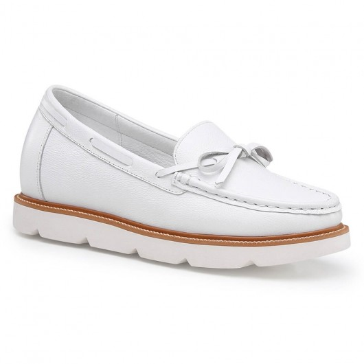 Chamaripa height increasing shoes for women white leather loafer elevator shoes hidden heel shoes 7CM/2.76 Inches
