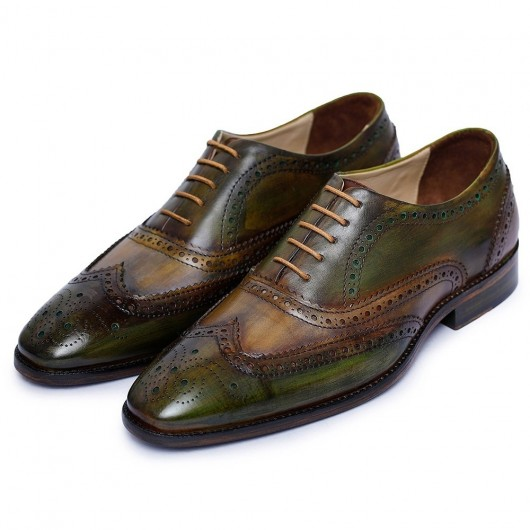Chamaripa Wedding Elevator Shoes for Men - Wingtip Brogue Oxford - Green 7CM / 2.76 Inches