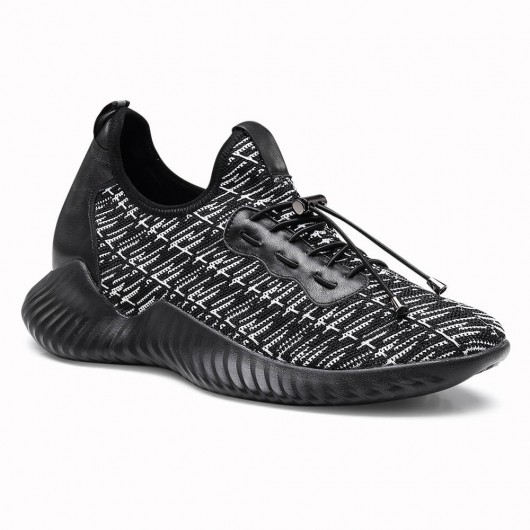 Chamaripa Elevator Sneaker Tall Men Shoes Black Knit Breathable Lightweight Athletic Tennis 6 CM /2.36 Inches