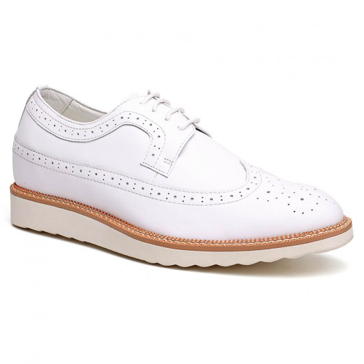 Casual Elevator Shoes for Men Brogue Tall Men Shoes White Shoe Lift 6CM/2.36 Inches