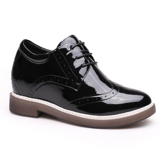 Women High Heel Boots Black Hidden Platform Shoes Height Increase Shoes 7 CM/2.76 Inches