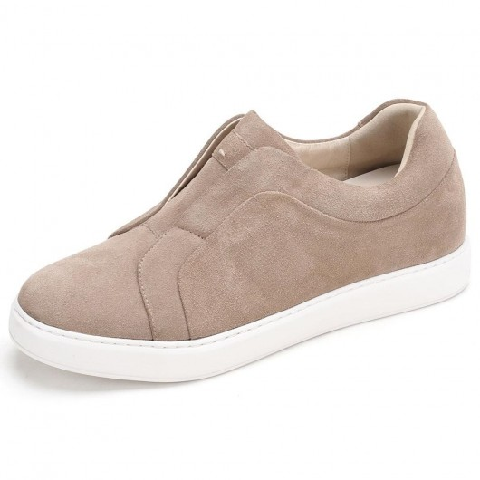 CHAMARIPA elevator sneakers for men beige suede slip-on sneakers make you 7CM/2.76 Inches taller