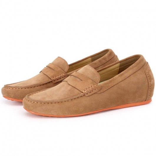 CHAMARIPA height increasing loafer for men brown suede penny loafer make you 7CM/2.76 Inches taller