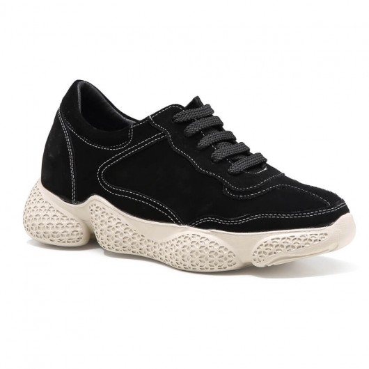 Chamaripa Women's Elevator Sneakers Height Increasing Shoes Black Suede Leather Chunky Sneakers 8 CM / 3.15 Inches