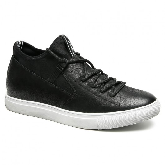 Black height increasing shoes Leather distressed sneakers men sneakers that give you height 6CM/2.36 Inches