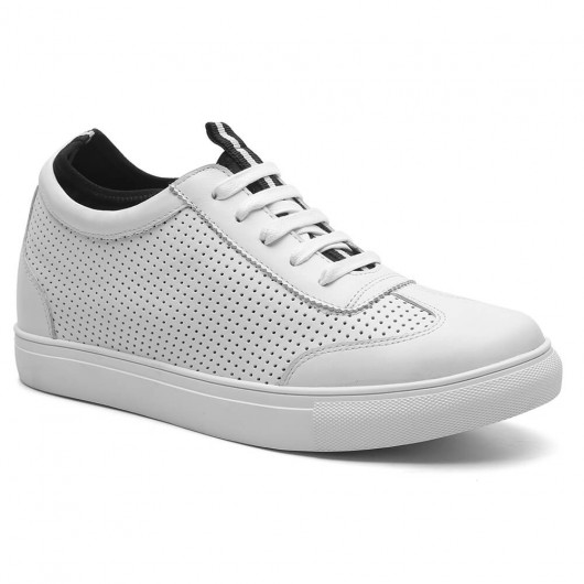 Height Increasing Sneakers Perforated Men Taller Shoes High Heel Shoes for Men White 2.36 Inches / 6 CM