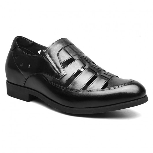 Summer Tall Shoes for Men Breathable Sandals with Hidden Heel Black Elevator Shoes 6 CM /2.36 Inches