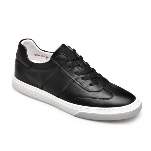 Chamaripa casual tall men shoes black leather height increasing sneakers 6CM / 2.36 Inches