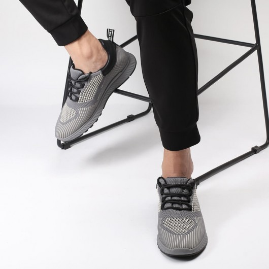 Chamaripa height increasing shoes for men grey knit elevator sneakers breathable lace up Training Shoes 6CM/ 2.36 Inches