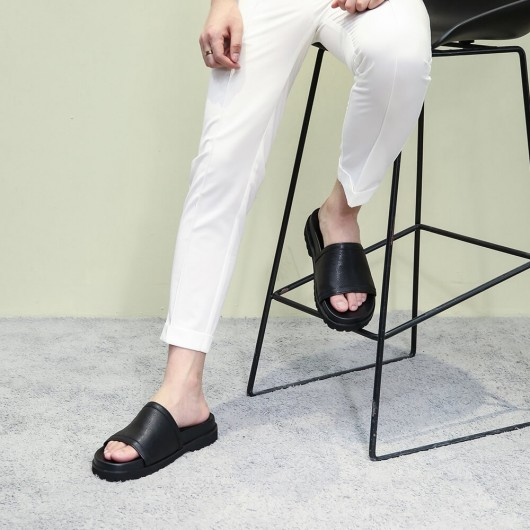 Chamaripa Height Increasing Men's Slippers Black Leather High Heel Slide Sandal Fashion Casual Elevator Sandals 6CM / 2.36 Inches