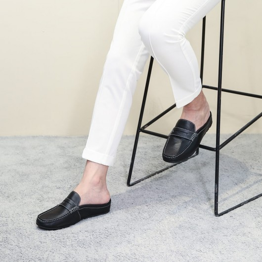 Chamaripa height increasing loafers shoes black leather dress slipper elevator moccasins driving shoes 5 CM / 1.95 Inches