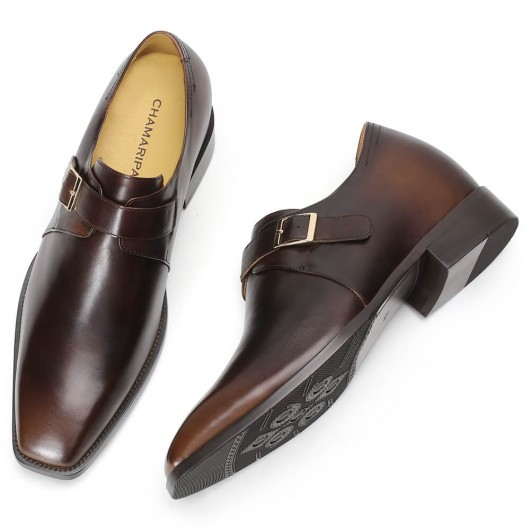 Chamaripa Elevator Shoes Brown Height Increasing Shoes Men's Leather Monk-Strap Loafers 8CM / 3.15 Inches