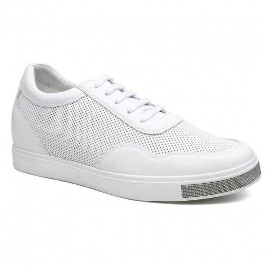 White Height Increasing Sneaker Casual High Heel Lift Skate Shoes Tall Men Shoes Mens Lifting Shoes 6CM