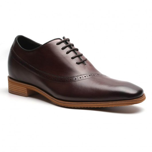 elevated dress shoes for men height increase dress shoes brown Oxfords 7 CM /2.76 Inches