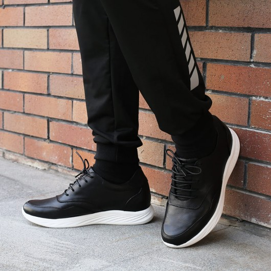 Chamaripa casual sneakers that add height black leather elevator shoes sneakers men taller shoes 7 CM / 2.76 Inches