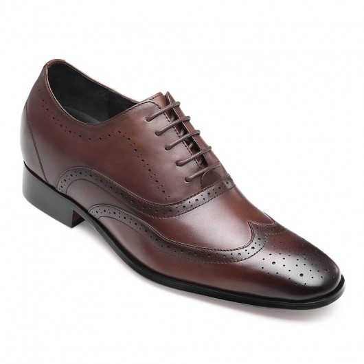 Chamaripa men's elevator shoes Brown Wingtip Oxford formal Tall Men Shoes 7 CM / 2.76 Inches