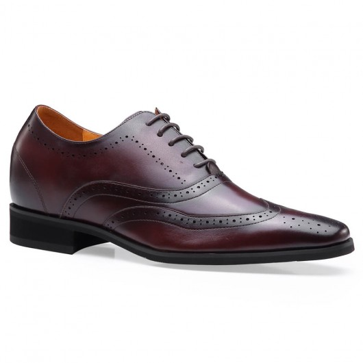 Chamaripa men's elevator shoes Brown Wingtip Oxford formal Height increase Shoes 7 CM / 2.76 Inches