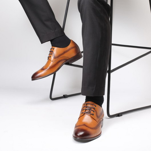 Chamaripa Men's Elevator Dress Shoes Formal Height Increasing Shoes Brown Brogue Shoes 5 CM / 1.95 inches
