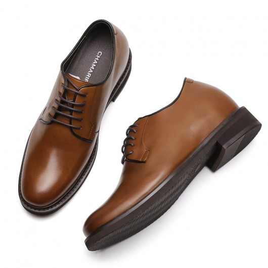 Chamaripa Elevator Dress Shoes Brown Leather Derby Shoes Hidden Heel Shoes for Men 8 CM/3.15 Inches