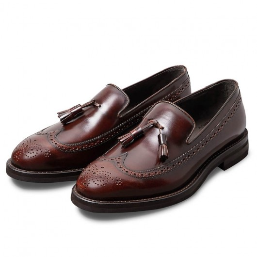 Chamaripa elevator shoes for men business taller shoes Burnished calfskin Longwing brogue tassel loafers Red wine 7CM / 2.76 Inches