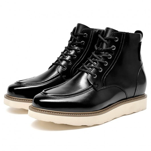 Chamaripa Height Increasing Boots for Men Black Casual Lace up Boots That Add Height 9 CM / 3.54 Inches