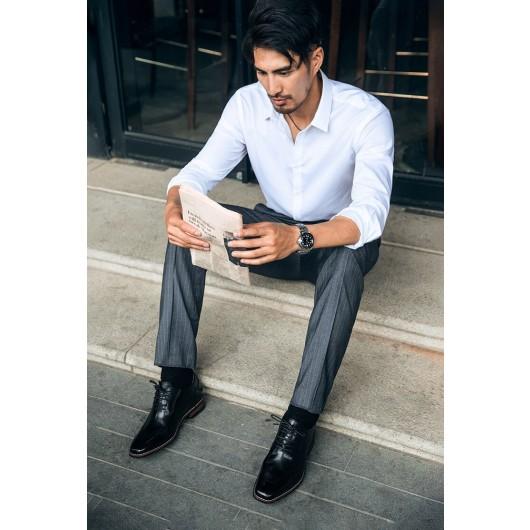 Chamaripa Black Elevator Dress Shoes High Heel Men Dress Shoes Men Taller Shoes 7 CM / 2.76 Inches