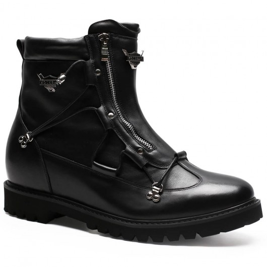 Chamaripa Height Increase Casual Outdoor Boots Black Men Boots With Hidden Heel 9 CM / 3.54 Inches