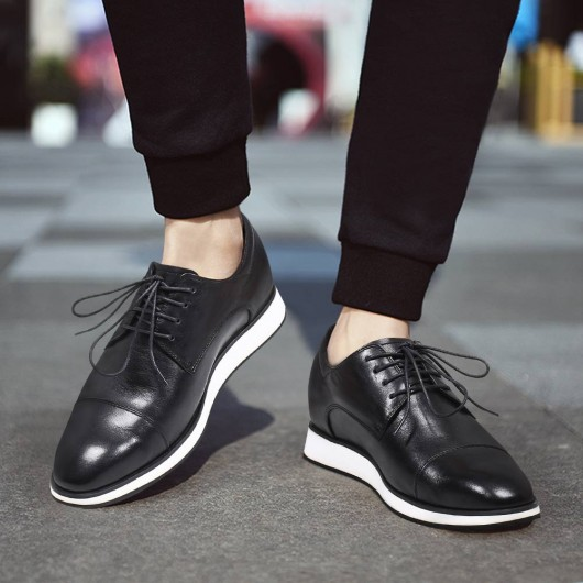Chamaripa Height Increasing Shoes Black Mens Hidden High Heel Shoes Casual Taller Shoes 6 CM / 2.36 Inches