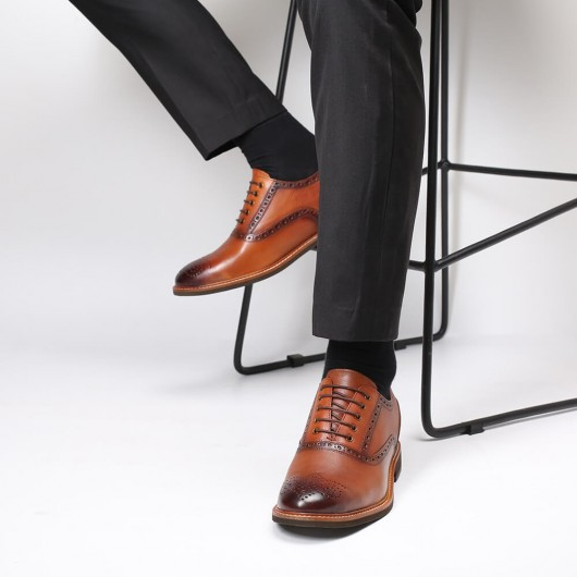 Chamaripa Height Increasing Shoes Brown Formal High Heel Shoes For Men Business Brogue Shoes 7CM / 2.76 Inches