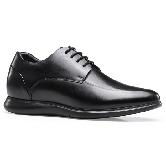 Chamaripa black leather elevator shoes Height Increasing Derby Shoes that make you taller 6.5CM / 2.56 Inches