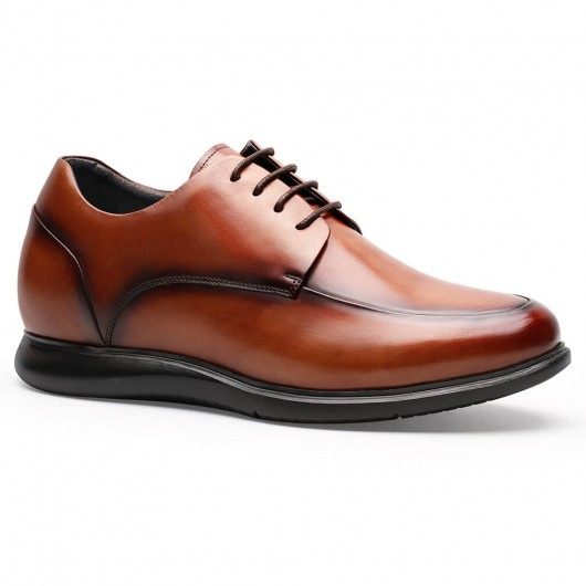 Chamaripa Elevator Shoes for Men Brown Leather Derby Shoes Height Increasing Tall Men Shoes 6.5CM / 2.56 Inches