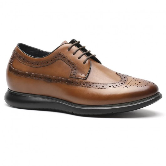 Chamaripa Height Increasing Shoes for Men Leather Brown Brogues Elevator Dress Shoes 6.5CM / 2.56 Inches