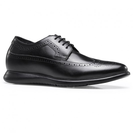 Chamaripa Height Increasing Dress Shoes Black Leather High Heel Shoes for Men Brigue Wintips Shoes 6.5CM / 2.56 Inches