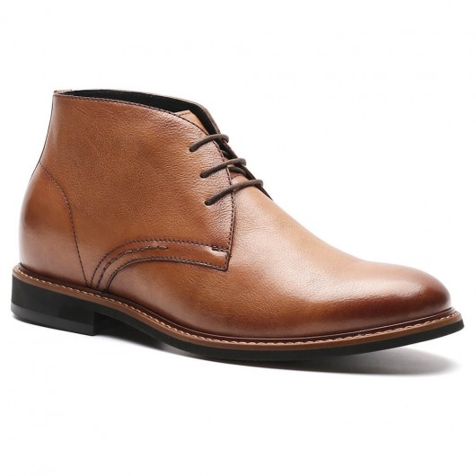 Chamaripa Elevator Boots For Men Brown Leather Tall Men Boots Height Increasing chukka boots 7CM / 2.76 Inches