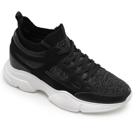 CHAMARIPA height increasing shoes for men hidden heel trainers black sports shoes 8 CM / 3.15 Inches