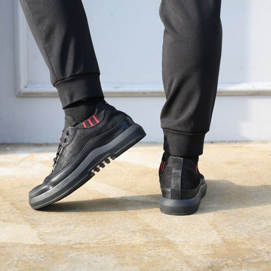 Men's Elevator Shoes Hidden High Heel Shoes for men Lace-up casual shoes Black 6 CM /2.36 Inches