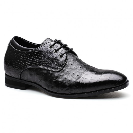 Custom Luxury Elevator Shoes Height Raising Shoes Ostrich Leather Tall Men Shoes 7 CM/2.76 Inches
