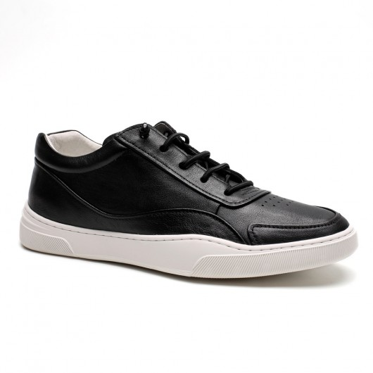 Chamaripa men's leather height increasing sneakers black leather height enhancing shoes make you taller 5CM / 1.95 Inches