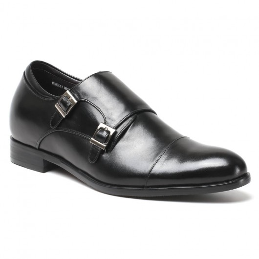 Height Increasing Shoes Men's Cap-Toe Monk Strap Loafer Elevator Dress Shoes 7 CM/ 2.76 inches