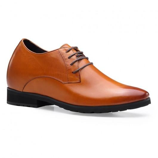 Chamaripa Modern High Heel Men Dress Shoes Formal Business Taller Shoes Brown 10 CM /3.94 Inches