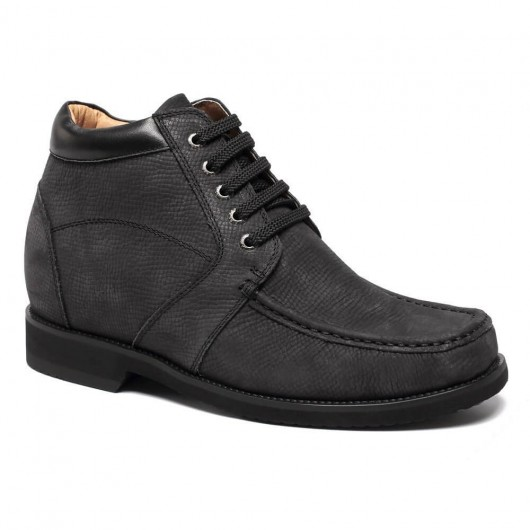 Elevator Boots Height Increasing Shoes for Men Tall Men Boots Black 9 CM/ 3.54 Inches
