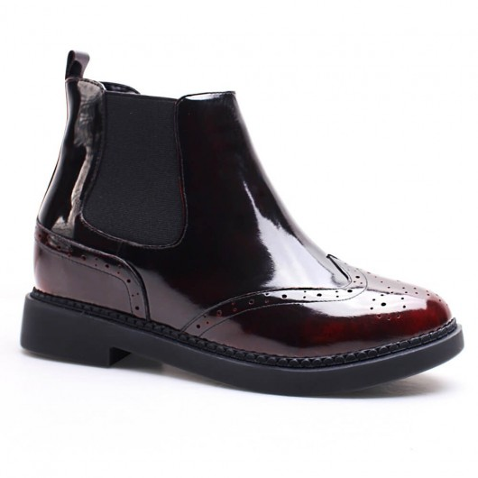 Women Hidden Heel Boots Height Increasing Oxfords Shoes Leather Taller Shoes 7 CM /2.76 Inches
