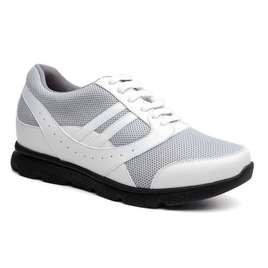 Chamaripa height increasing sneakers for men high heel sneakers men taller shoes grey & white 7CM /2.76 Inches