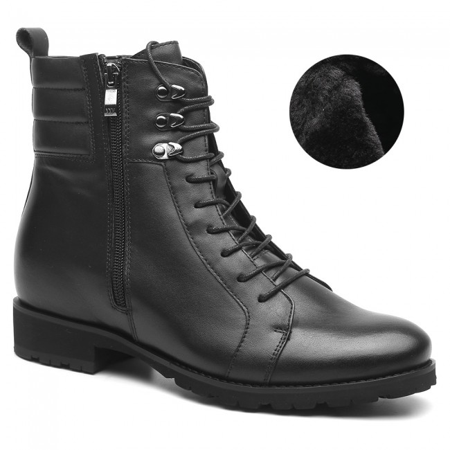 black elevator boots velvet motorcycle boots for men height increasing work boots 7 CM /2.76 Inches