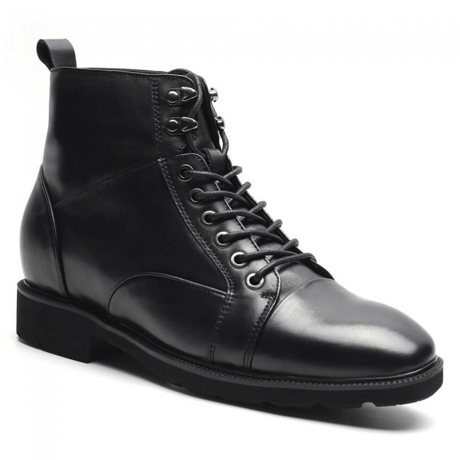 Chamaripa height increasing boots black men taller shoes lace up elevator boots 7 CM / 2.76 Inches