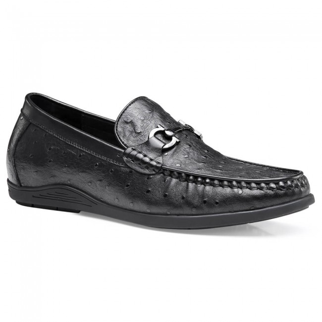 Chamaripa Formal Height Increasing Loafer Black Leather Slip On Elevator Shoes for Men 4 CM / 1.57 Inches