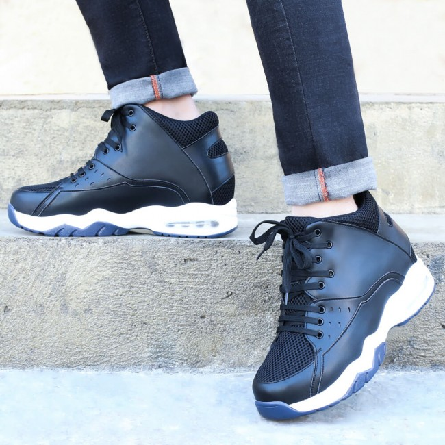 Chamaripa Height Increasing Basketball Shoe Black High-Top Sports Shoes that make you taller 9.5 CM / 3.74 Inches